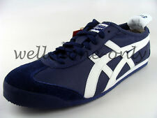 Asics Onitsuka Tiger Mexico 66 navy blue white mens leather retro running shoes