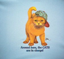 Around Here the Cats are in Charge Cat with Baseball Cap Adult T-Shirt S-5X NEW