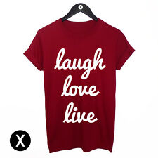 LAUGH LOVE LIVE MENS T SHIRT / PRINTED TEE WOMENS GIRLS SWAG HIPSTER TUMBLR TOP