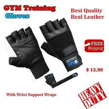 DAM Weight Lifting Body Building Gloves Gym Strap training Cowhide Leather