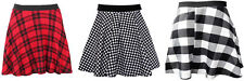 Womens Red Tartan Check Dog Tooth Print Ladies Casual Flippy Skater Skirt 8-14