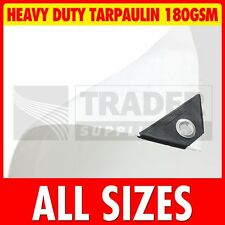 White Heavy Duty Poly Tarpaulin Market Stall Cover Builders Tarp Ground Sheet