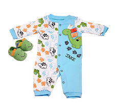 BABY BOY Dino Sleep and Play with booties PERSONALIZED FREE