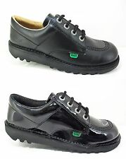 New KICKERS Kick Lo Infants Juniors Black Leather Shoes Patent Kids School 12-6