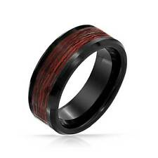 Bling Jewelry Black Tungsten Wood Inlay Mens Ring