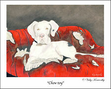 "Great Dane Dog Fine Art Print ""Chew toy"" Available sizes 8"" x 10"", A4 and A3 VK"