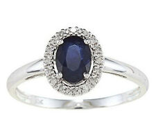 10k White Gold Blue Sapphire and Diamond Ring (1/10 TDW)