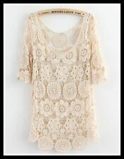FREE GIFT + Vtg hippie boho people floral crochet lace beach tunic dress top