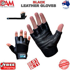 DAM GYM WEIGHT LIFTING GLOVES BODY BUILDING WORKOUT COWHIDE LEATHER