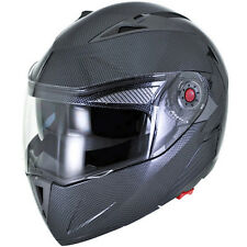 Carbon Fibre Modular Flip Up Gloss Dual Visor DOT Motorcycle Helmet - S/M/L/XL