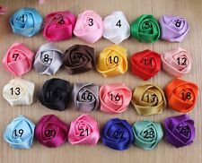 Lots 100pc DIY 16color satin ribbon corsage rose flower Appliques Sewing Wedding