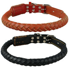 """Brown Genuine Real Leather Dogs Pet Collars Braided Rolled 17-23"""" Neck Size M/L"""