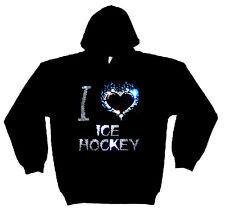 I LOVE ICE HOCKEY HEAVYWEIGHT CRYSTAL DESIGN HOODY  HOODIES (any size)