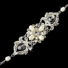 Silver or Gold Ivory Austrian Crystal Freshwater Pearl Bracelet Bridal Jewelry