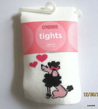 Gymboree Tres Chic Pink Black White Dog Poodle Heart Tights 3-3T-4-4T 8 9 10 NWT