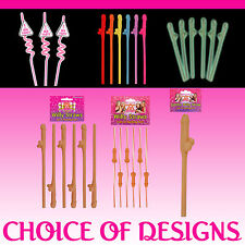 HEN PARTY STRAWS Novelty Hen Night Party Willy Accessories - 6 DESIGNS!