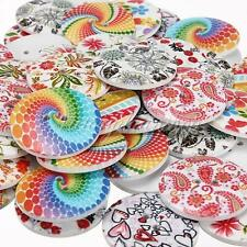 10/50/100 Colorful Patterns Round Wood Wooden Buttons Craft Sewing Scrapbooking