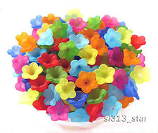 Happy Garden 088 : Acrylic Mix Matte Colors Flower Beads, 7mm x 12mm