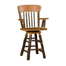 """Rustic Hickory Panel Back 30"""" Swivel Bar Stool with Arms *Hickory or Oak*"""