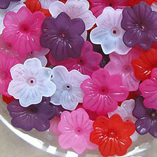 Acrylic Flower Beads, Mixed Matte Colors, 28x5mm