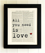 ART PRINT ON OLD ANTIQUE BOOK PAGE *FRAMED* The Beatles, All you need is love