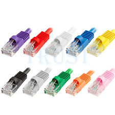 CAT5E CABLE LAN NETWORK ETHERNET 5FT 7FT 10FT 15FT 25FT 50FT 75FT 100FT Cmple