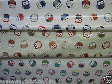 FRYETT'S FABRICS OWLS MULTI / RED & BLUE / TERRACOTTA NEW PVC/VINYL/OILCLOTH