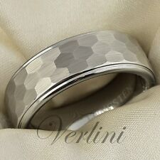 8mm Wedding Band Hammered Mens Tungsten Ring Brushed Rings Size 6-15 VERLINI