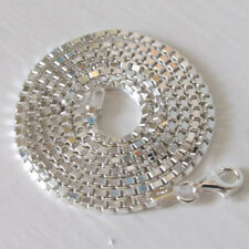 """Italian Solid Sterling Silver 2mm Diamond Cut Box Chain Necklace, 16"""" to 24"""""""