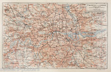 Print of Vintage Map of LONDON & SURROUNDING AREA Picture Poster ANY SIZE old