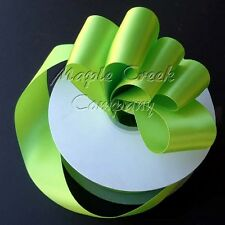 Double Face APPLE GREEN 100% Polyester Satin Ribbon Assorted Sizes