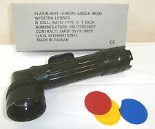 ARMY OLIVE GREEN ANGLE TORCH WITH COLOURED FILTERS O/D CADET BRITISH SUPPLIER