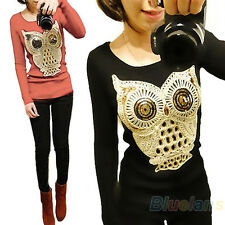 Women's Long Sleeve Chic Sequins the Owl Printed Knitwear Sweater Jumper B75U NW