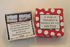 1 Year of Thoughts & Wishes for Sister * ~ Birthday, Christmas, Wedding Gift