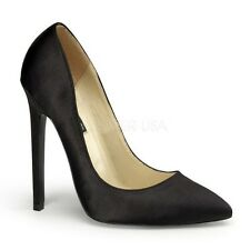 "SATIN CLASSIC PUMPS STILETTO 5"" HIGH HEEL WOMENS BUSINESS SEXY POINTY TOE SHOES"