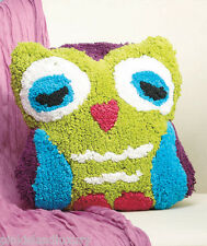 COLORFUL OWL SHAPED ACCENT PILLOW BED BATH PLAY ROOM DORM WHIMSY BIRD KID TWEEN