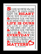 Metallica Nothing else Matters music typography lyric wall art canvas or prints