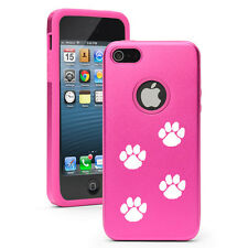 For iPhone 4 4S 5 5S 5c Hot Pink Aluminum Silicone Case Paw Prints Walking