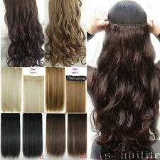 "17""-27"" Long Curly Wavy Straight CLIP IN HAIR EXTENSION Black Brown Blonde Red"