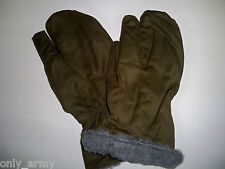 Green Military Shooting Mittens With Trigger Finger Fur Lined Winter Surplus