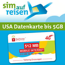 USA Prepaid LTE SIM-Datenkarte mit Tethering - 512 MB bis 5 GB (T-Mobile USA)