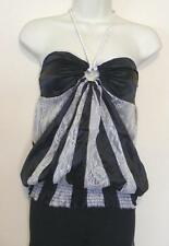 SOLUTION WOMEN'S HALTER TOP GRAY LACE & BLACK SILK & POLYESTER SIZE S, M & L NWT