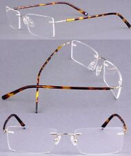 Titanium-alloy Rimless Tortoise Shell Blue Gunmetal Eyeglass Frame Spectacles Rx