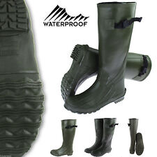Green Mens Fishing Hunting Wellington Boots Mucker Hunt Work Rain Rubber Wellies