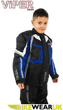 KIDS BOYS GIRLS YOUTH DRACO WATERPROOF MOTORCYCLE RIDER CE ARMOURE JACKET BLUE