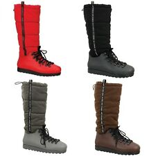 Women Winter Snow Mid Calf Knee High Water Proof Shearling Lace Up Ski Boot Shoe
