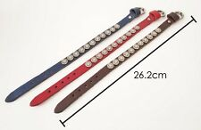 NEW MENS WOMENS Leather with Stars Metals Adjustable Bracelets Red Brown Blue
