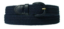 Mens Navy Blue Elasticated Fabric Woven Braided Stretch Webbed Belt 30mm