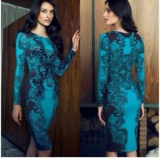 Asos Lipsy Teal Lace Detail Long Sleeved Bodycon Dress Size UK 6-8 New
