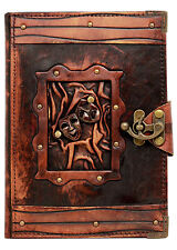 Happy Sad Drama Mask Pendant Brown Vintage Leather Journal / Diary / Notebook
